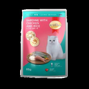 S/HEART POUCH C/FOOD SARDINE WT CHIC 85G