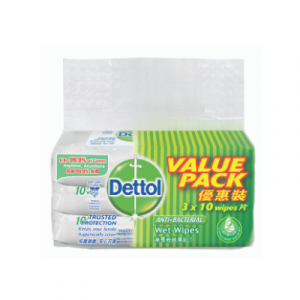 DETTOL A/BACT WET WIPES V/PACK 1X3X10'S