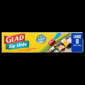 GLAD ZIP SLIDE STORAGE BAG 8'S(L) 1X8'S