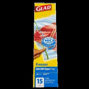 GLAD ZIPPER FREEZER BAG 15'S 1X15'S