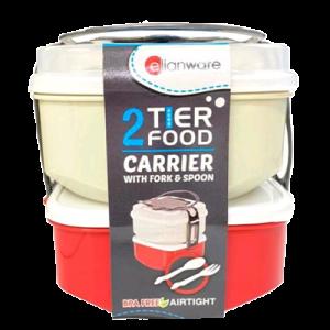 E-1035/2 2 TIER FOOD CARRIER W/FORK & SPOON