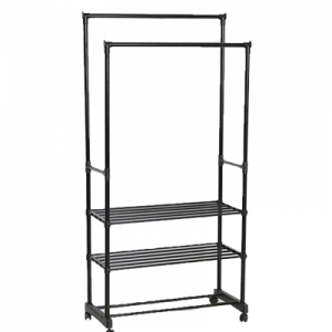 JH6962 Y23R DOUBLE  GARMENT RACK WITH SHELF